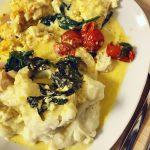 Recept: Saffranstorsk i ugn med potatis-/blomkålsmos
