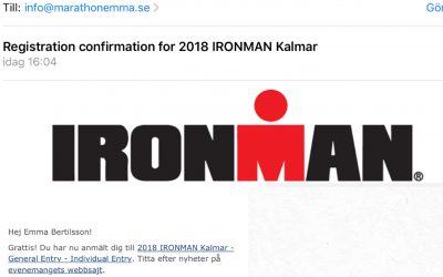 Mitt livs utmaning, Ironman Kalmar 2018!