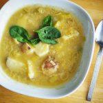LUNCH/MIDDAG: Potatis- och purjolöksoppa med linser